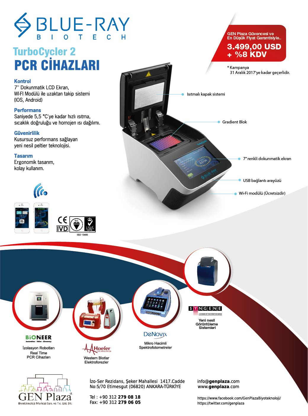 blue-ray, turbocycler, turbocycler 2, blueray pcr, pcr, thermal cycler, ısısal döngü cihazı, genplaza, GEN Plaza, biyoteknoloji