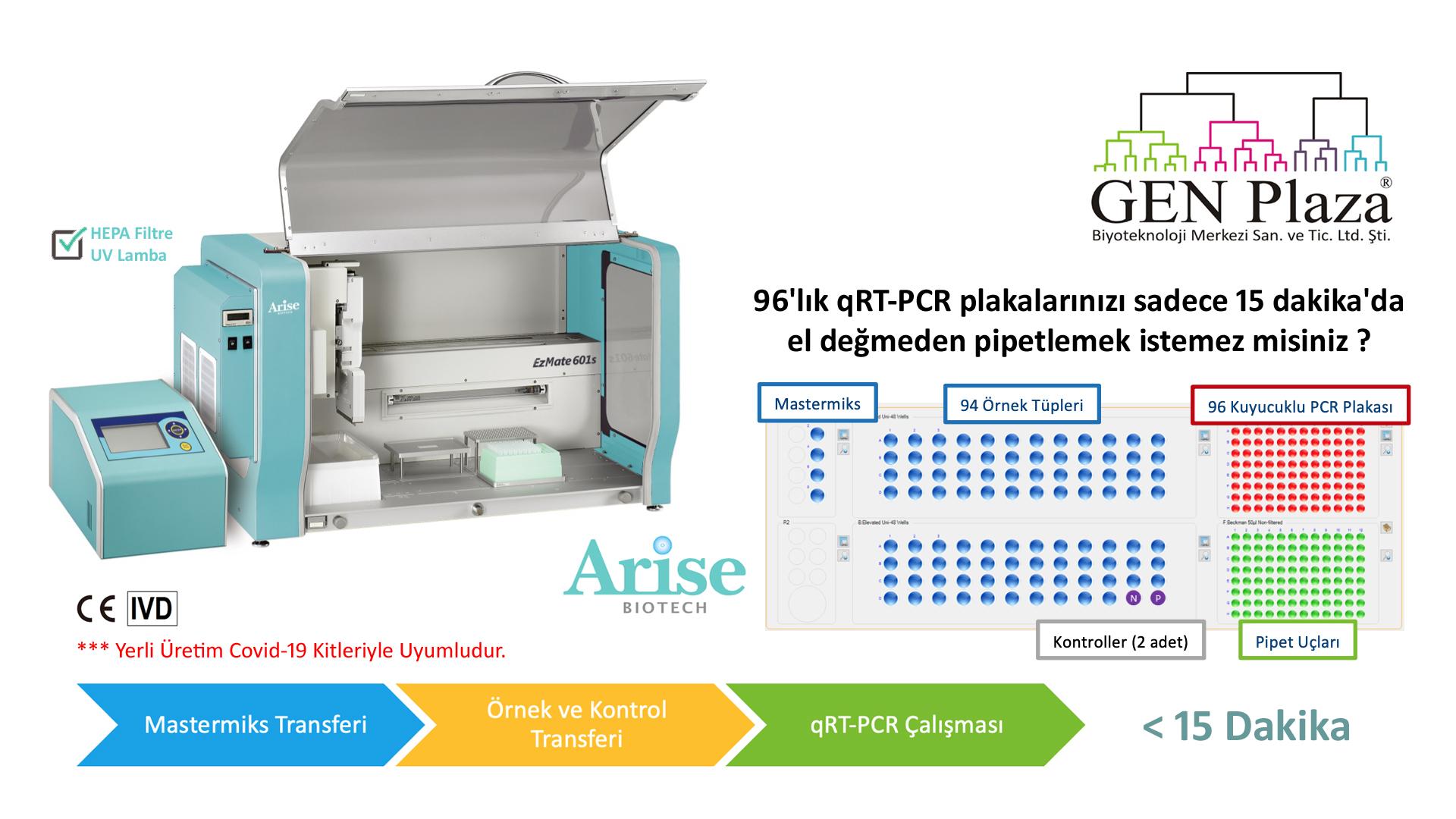 genplaza, gen plaza, biotech, biotechnology, biyoteknoloji, GEN, genplaza, destek, arise, qpcr, pcr, qRT-PCR, covid19, covid-19, sars cov2, Arise, arise, arise biotech, biotech, pipette, pipet, otomatik pipet, automated pipetting, pipetting, pipetleme sistemi, otomatik pipetleme sistemi, ce, ivd